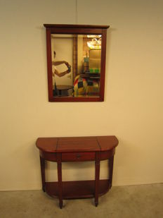 Oak wall table (console) and facet cut mirror in antique style - late 20th, early 21st century
