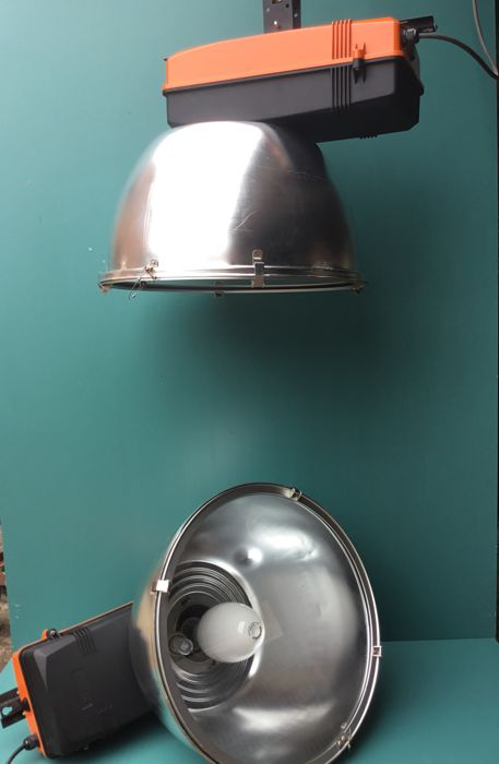 A couple of very large industrial lamps - Brand Indalux Belgium - 1970s