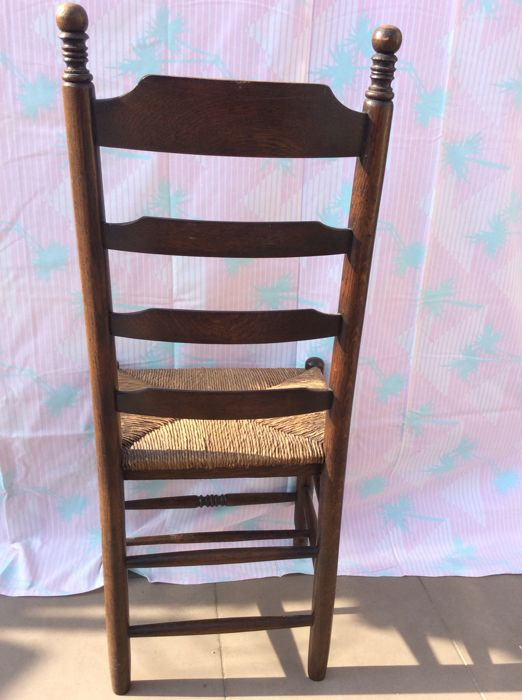 Antique shaker chairs with seat with rushes, Belgium, first half 20th  century - Antique Shaker Chairs With Seat With Rushes, Belgium, First Half