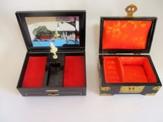 Two jewelery boxes, one music box with carrilon and dacing ballerina, and other numbered with mother of pearl inlaid flowers and dragonfly