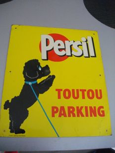 "Advertising plate for Persil ""Toutou Parking"" 1930"