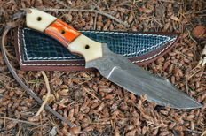 Handmade Damascus Hunting Knife Camel Bone