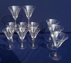 Set of 8 wine flared glasses  + three water glasses in glass - crystal