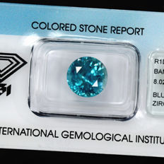Intense blue zircon - 8.02 ct