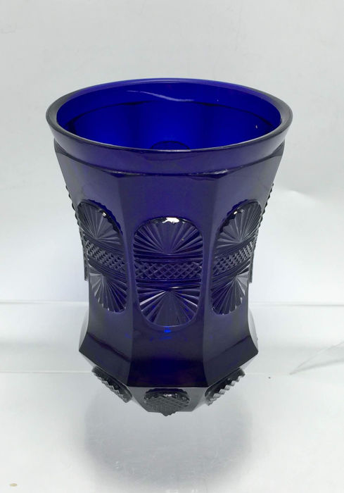 A cobalt blue glass Biedermeier Beaker, probably Harrachov Glassworks, Northern Bohemia, around 1835.