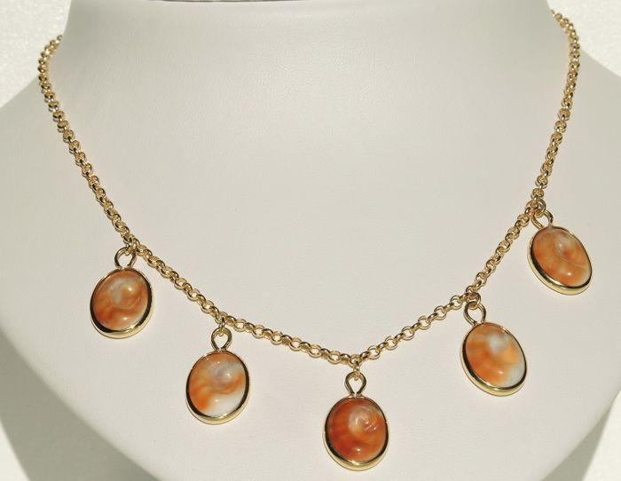 18kt gold necklace with eye of santa lucia shell pendants cm 45 18kt gold necklace with eye of santa lucia shell pendants cm 45 aloadofball Choice Image