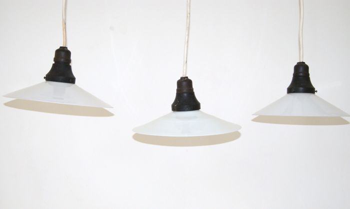 3 opaline industrial hanging lamps