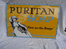 very nice original enamel sign from 1910 for puritan soap