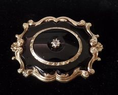 14K Gold antique memento mori brooch with Onyx and rose cut Diamond