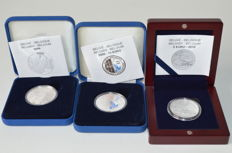Belgium - 5 Euro 2010 + 10 Euro 2004 and 2008 coloured - silver