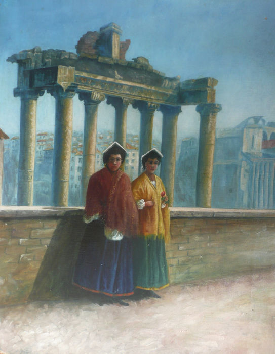 Unknown artist - Forum Romanum: Temple of Saturn with ladies
