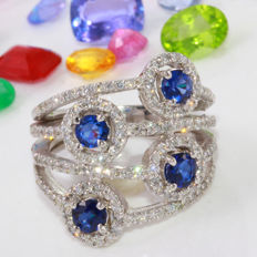1.85 Carat Sapphire And Diamond In 14K Solid White Gold Ring Size: 7 *** Free shipping *** No reserve *** Free resizing ***