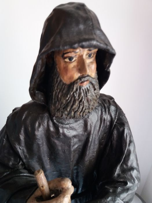 Saint Francis of Assisi made of canvas and glue with wooden head and hands - 59 cm - late 18th century or early 19th century