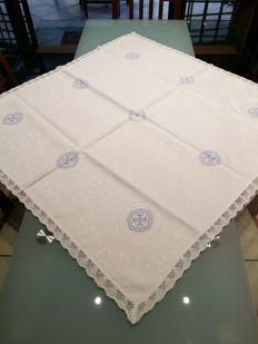 Damask fabric tablecloth - handmade in cross stitch - never used