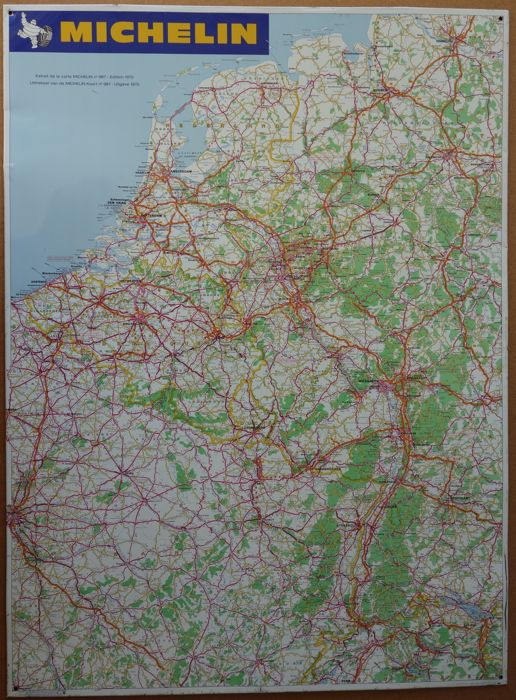 Map Of Northern France Belgium.Michelin Road Map Western Europe West Germany Belgium
