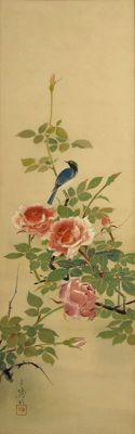 Bluetail and Roses - Hakuyo (白揚) - Japan - first half 20th century