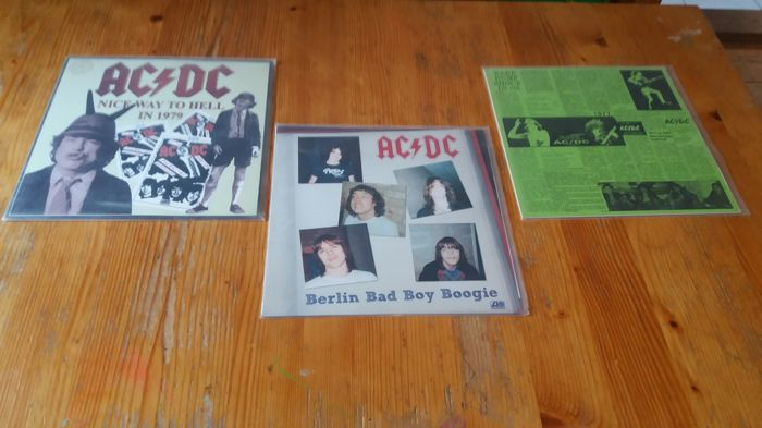 AC/DC 3 rare live albums ( 4x lp) in coloured and black vinyl