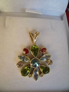 14 kt gold pendant with precious stones; size pendant:  31 mm