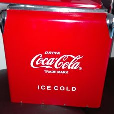 Portable icebox for beach - Coca Cola - in metal - 1950s