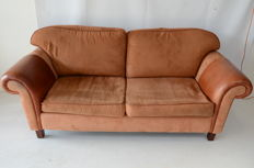 English country style 2 1/2 seater sofa, upholstered in suede and leather. 2nd half of 20th century.