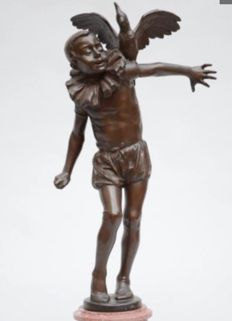 Albert Baggen (1862-1937) - large bronze sculpture of Pierrot with cockatoo - early 20th century.