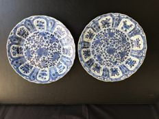 Pair of blue white porcelain plates - China - approx. 1700 (kangxi period)