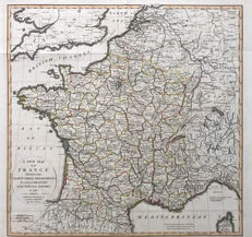 France; Laurie & Whittle - A new Map of France divided into 83 departements... - 1795