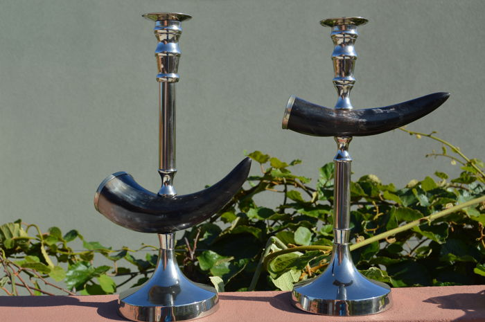 Bizarre pair of candlesticks (38,5 cm high) - metal and bone