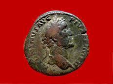 Roman Empire - Antoninus Pius (138 - 161 A.D.) bronze sestertius (24,00 g, 31 mm). Rome mint. 156-157 A.D. TR POT XX COS IIII / S C Securitas seated.
