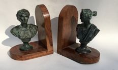 Wooden bookends with busts of Roman Emperor and Empress, France, ca. 1950s