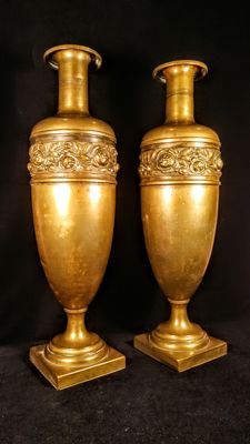 Huge French Louis XV style Brass metal Vases Pair - late 19th century