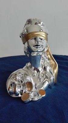 The Blindfolded Goddess - Silver Plated Goddess of Fortune Bust - Silver title 925