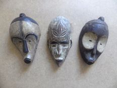 3 mask in carved wood - FANG - Gabon
