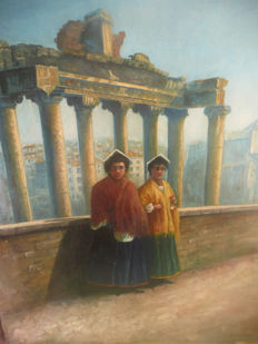 Unknown artist: (around 1900) : Rome: Temple of Saturn with ladies