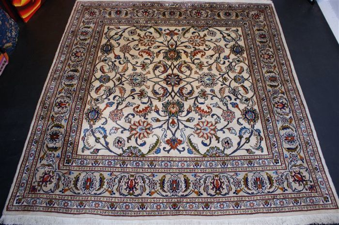 Hand-knotted original Persian carpet oriental Kashan signed approx. 246 x 246 cm In best condition Iran main colour: beige