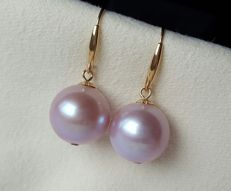 18 kt/750 yellow gold cultivated fresh water pearl  earrings -Pearl Size: approx 11 X 11 mm, weight 4 g