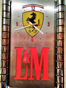 Origilal wall clock made of chrome&INOX by Philip Morris-illuminated.L & M-Philip Morris-sponsor FERRARI.