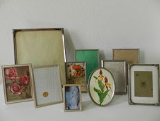 Ten vintage silver and silver plated photo frames