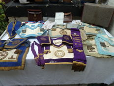 Large Collections Of Masonic Aprons Sash Gloves Case's