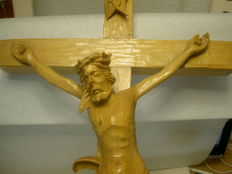 Solid lime wood cross hand-carved by master woodcarver