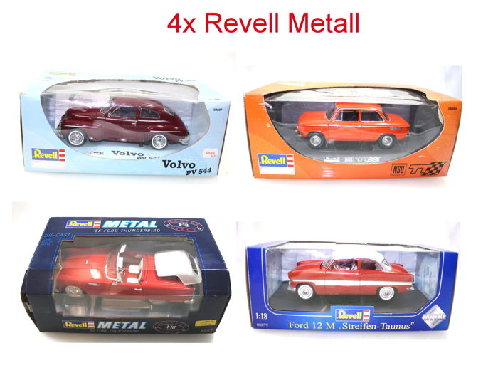 Revell Metall - Scale 1/18 - Lot with 4 Models: Volvo PV 544, 12 M Strip Ford Taunus, NSU TT & 55 Ford Thunderbird