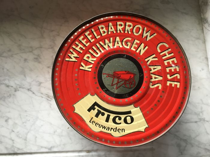 Vintage Cheese tin Frico Leeuwarden Wheelbarrow Cheese