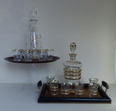 2 Cut glass liquor sets and tray