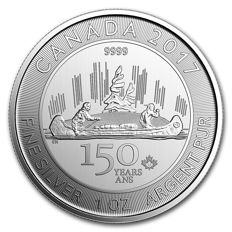 5 CAD - Royal Canadian Mint - 1 oz - 150 Years Voyageur 2017 - 999 silver coin