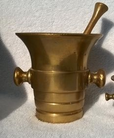Antique large bronze mortar with pestle.
