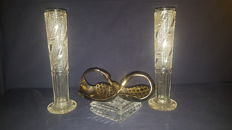 Pair of italian art deco glass-crystal vase-ornaments-27 cm Height & art deco centerpiece bombon holding