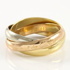 Cartier 18k Yellow, White & Rose Gold Must de Cartier Trinity Ring - Size: 7