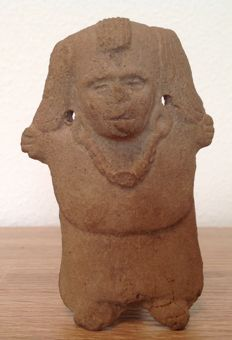 Pre-Columbian Veracruz Remojadas whistling figure of a priest - Mexico - 10 cm