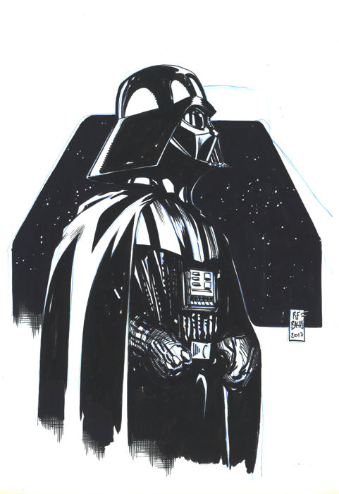 darth vader by bachs ramon original inked drawing. Black Bedroom Furniture Sets. Home Design Ideas