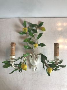 """Wrought iron wall lamp painted """"The lemon tree"""", France, 1970s"""